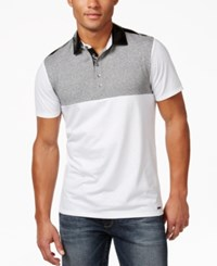 Guess Men's Mason Jersey Colorblocked Polo True White Multi