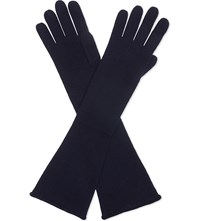 Cash Ca Long Cashmere Gloves Navy