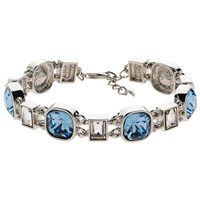 Finesse Cushion And Baguette Glass Crystal Bracelet Silver Blue