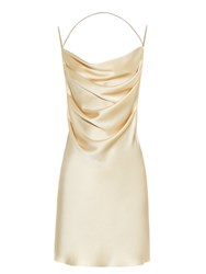 Saint Laurent Drape Front Open Back Silk Dress Gold