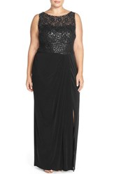 Plus Size Women's London Times Sequin Lace Bodice Sheath Gown Black