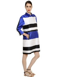 Francesco Scognamiglio Oversize Striped Techno Blend Satin Coat Blue White