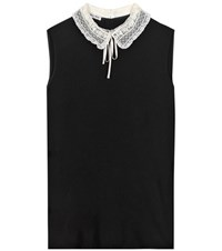Miu Miu Silk Blouse With Lace Collar Black