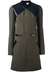Courreges Contrast Panel Tweed Shift Dress Green