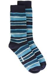 Missoni Striped Knit Socks Blue