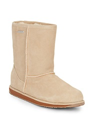 Emu Paterson Shearling Lined Suede Mid Calf Boots Chestnut