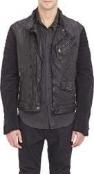 Ralph Lauren Black Label Leather And Suede Moto Jacket Black Size Xl