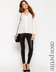 Asos Petite Leather Look Leggings With Elastic Slim Waist Black