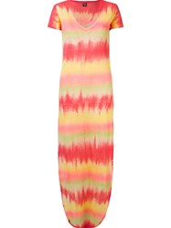 Skinbiquini Side Slits Long Tie Dye Dress Yellow And Orange