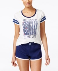 Tommy Hilfiger Graphic Print Pajama Top Cloud Dancer
