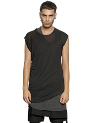 Tom Rebl Asymmetrical Long Modal Jersey T Shirt Black
