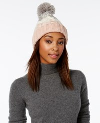 Rampage Colorblock Beanie Only At Macy's Rose Quartz Ivory