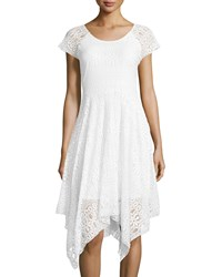 Neiman Marcus Lace Handkerchief Hem Short Sleeve Dress White