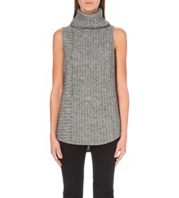 The White Company Sleeveless Turtleneck Knitted Jumper Grey Marl
