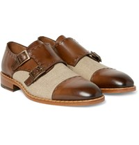 Etro Two Tone Burnished Leather And Canvas Monk Strap Shoes Brown