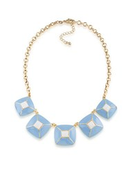 1St And Gorgeous Enamel Pyramid Pendant Statement Necklace In Sky Blue White Gold