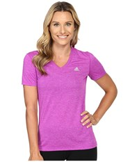 Adidas Ultimate S S V Neck Tee Shock Purple Matte Silver Women's T Shirt