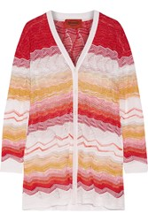 Missoni Metallic Crochet Knit Cardigan Red