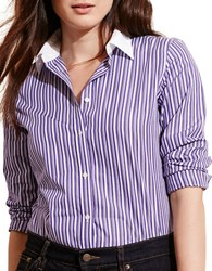 Lauren Ralph Lauren Plus Striped Stretch Cotton Shirt Purple Multi
