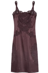 Dolce And Gabbana Lace Trimmed Stretch Silk Blend Chemise Red
