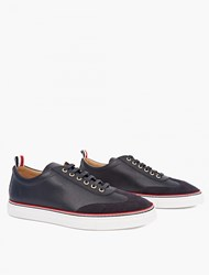 Thom Browne Navy Leather And Suede Sneakers