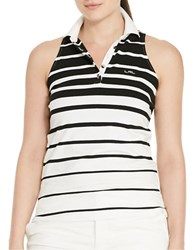 Lauren Ralph Lauren Plus Striped Sleeveless Polo Shirt Black White
