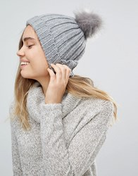 Oasis Faux Fur Pom Detail Beanie Grey