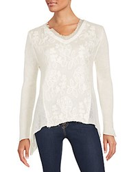 Saks Fifth Avenue Floral Lace Panel V Neck Top Ecru