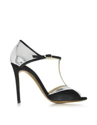 L'autre Chose Black Suede And Silver Patent Leather Sandal