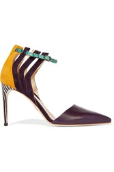 Chelsea Paris Aster Suede Smooth And Snake Effect Leather Pumps Purple