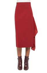 Akris Women's Side Drape Double Face Wool Blend Skirt Miracle Berry