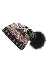 Missoni Women's Zigzag Knit Wool Beanie With Genuine Silver Fox Fur Pom