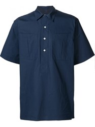 E. Tautz Wide Sleeve 'S S Sport Popover' Button Down Shirt Blue