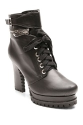 Two Lips Too Abduct Combat Bootie Black