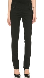 Alice Olivia Olivia Slim Leg Pants With Wide Waistband Black