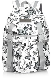 Adidas By Stella Mccartney Floral Print Shell And Mesh Backpack Charcoal