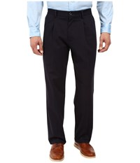 Dockers Signature Stretch Relaxed Pleated Front Navy Men's Casual Pants