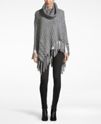 David And Young Mixed Cable Knit Turtleneck Poncho Grey