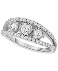 Trumiracle Diamond Three Stone Anniversary Band 1 Ct. T.W. In 14K White Gold