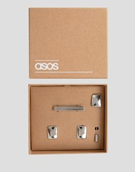 Asos Tie Bar Cufflink And Lapel Pin Set Silver