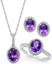 Macy's Amethyst And White Topaz Earring Ring And Pendant Set In Sterling Silver 4 3 4 Ct. T.W.
