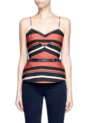 Nicholas Faux Leather Fringe Stripe Peplum Bustier Top Multi Colour