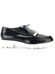 Robert Clergerie Pearled Fringe Detail Loafers Blue