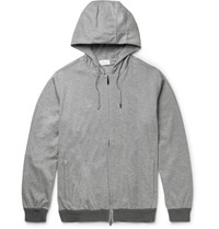 Brioni Melange Tretch Cotton Jerey Zip Up Hoodie Gray