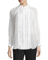 3.1 Phillip Lim Long Sleeve Pintucked Fil Coupe Blouse Antique White