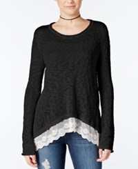 Hippie Rose Juniors' Lace Trim Asymmetrical Hem Sweater Black