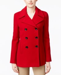 Calvin Klein Petite Wool Cashmere Blend Double Breasted Peacoat Crimson
