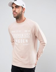 Asos Sweatshirt With Print And Paint Splats Rose Dust Pink