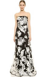 Notte By Marchesa Embroidered Strapless Dress Black White