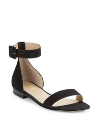 424 Fifth Chantella Textured Leather Sandals Black